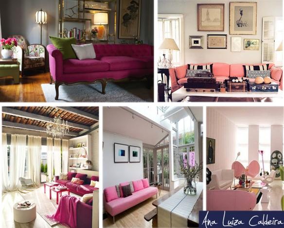 Sofá rosa: No modelo clássico ou moderno. Caso seu espaço seja pequeno, uma ótima opção são almofadas e mantas.