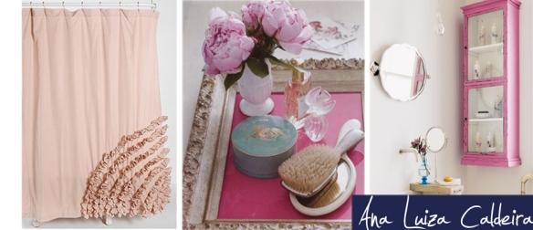 Banheiro: O rosa pode trazer muito charme e alegria. Cortina, tapete, quadro e toalhas são ótimas opções.