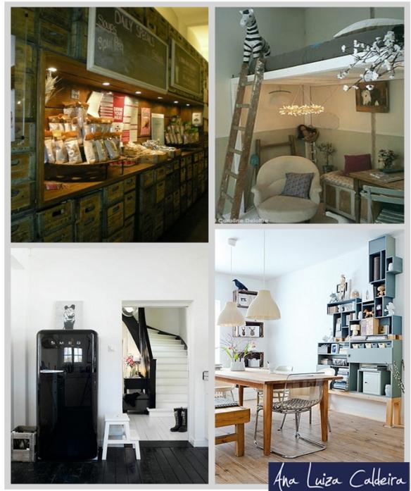 Dar um novo uso ao material: Uso de pallets, caixotes, escadas, e outros objetos baratos, trazem charme e personalidade ao seu espaço, além de serem ecologicamente corretos.